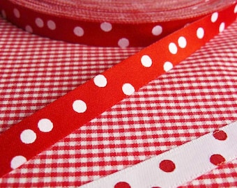 1 m webbing, dots, red, white, color mix