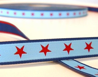 1 m webbing, stars, blue, red, colour mix