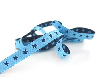 1 m webband, stars, blue, light blue, colour mix