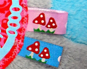1 m webband, toadstool, pink, blue, colour mix