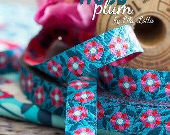 1 m weaving ribbon, flowers, mix of colours
