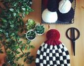 Hand Knit Beanie,Pom Hat