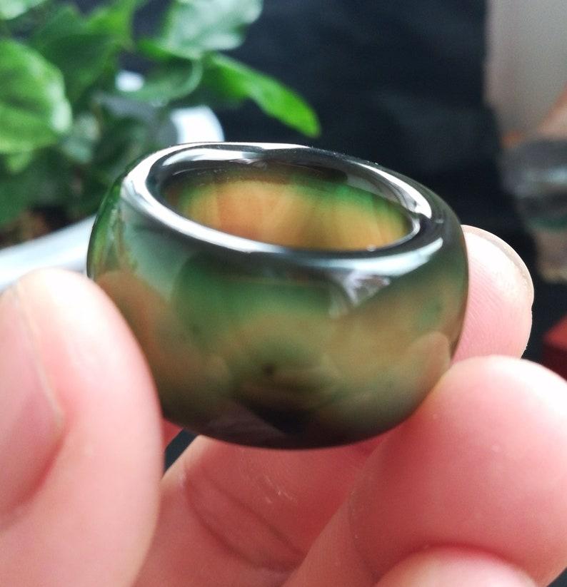 14mmNatural   jadeite Carved  Ring \u3010 US  8-9\u3011  L948