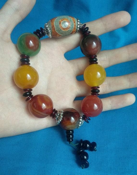 China Tibet sky beads handmade braceletsThree eyes agate sky beads  K231