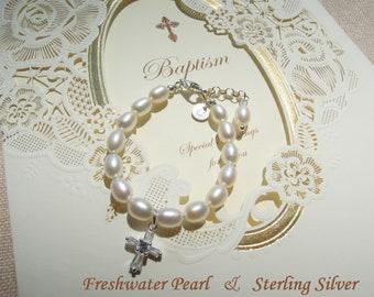 Baby Cross Bracelet, Baby Baptism Bracelet, Real Freshwater Pearl Bracelet, Christening Gift,  Baptism Gift, Baby Shower Gift