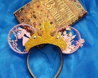 Once Upon a Dream with tiara , sleeping beauty Aurora inspired, 3D print Mouse Ears