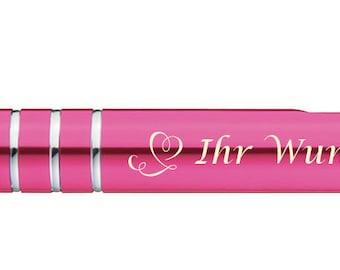 Farbe aus Metall 10 Kugelschreiber mit Gravur silber-pink