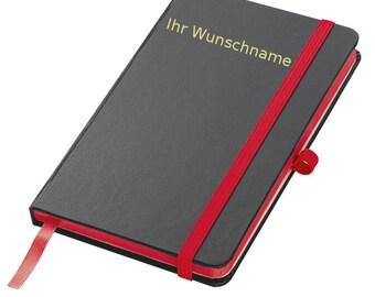 Personalisierbares Notizbuch DIN A6 liniert in Leder gebunden braun schwarz