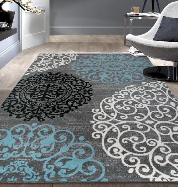 Contemporary Geometric Design Indoor Gray Area Rug Etsy