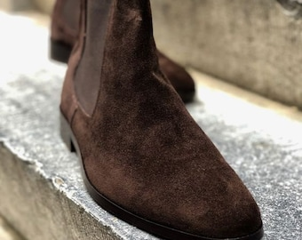 New Pure Handmade Dark Brown Suede Leather Chelsea Boot For Men's