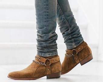 New Handmade Pure Camel Suede Leather Zipper Motorcycle Boots for Men's