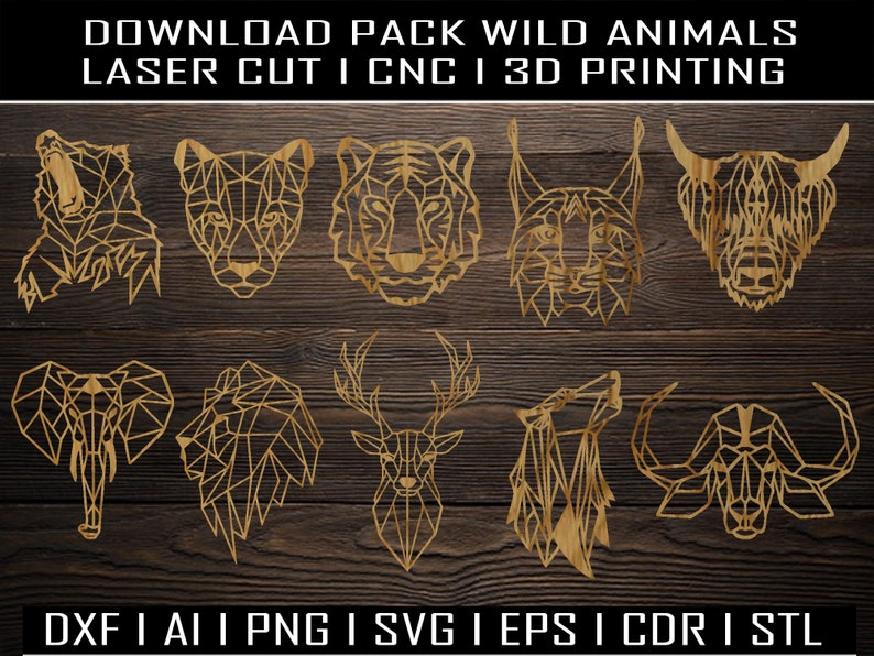 Wild Animals Collection (x10) STL I Ai I PNG I SVG I Eps I Pdf I Dwg I Dxf  I laser cutting I cnc I clipart I 3D Printing I geometric