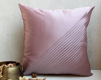 Pink Taffeta Throw Pillow Luxury Contemporary Pillow Modern Toss Pillow Pleated Surface Embellished Custom Accent Personalised pillow