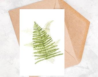 Watercolor postcard, greeting card, watercolor fern patterns, timeless postcard