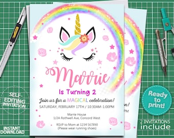 INSTANT DOWNLOAD Printable Unicorn Invitation Face Birthday Girl Party Invites 300dpi