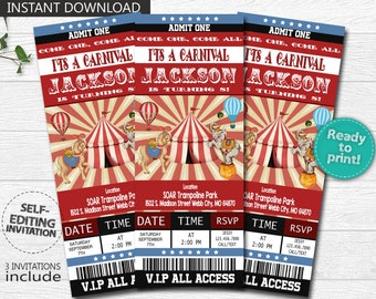 INSTANT DOWNLOAD Circus Invitation Carnival Invitations Birthday Ticket DIY Editable Inv 300dpi