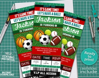 Sport Invitation Etsy