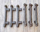 6pcs Vintage Victorian cast iron wood shape door window Drawer cabinet screen cupboard handles pull rustic 4.3 quot 455grams