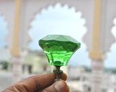 Vintage Large diamond mint green depression cut glass door drawer knob handle pull 2.3 quot