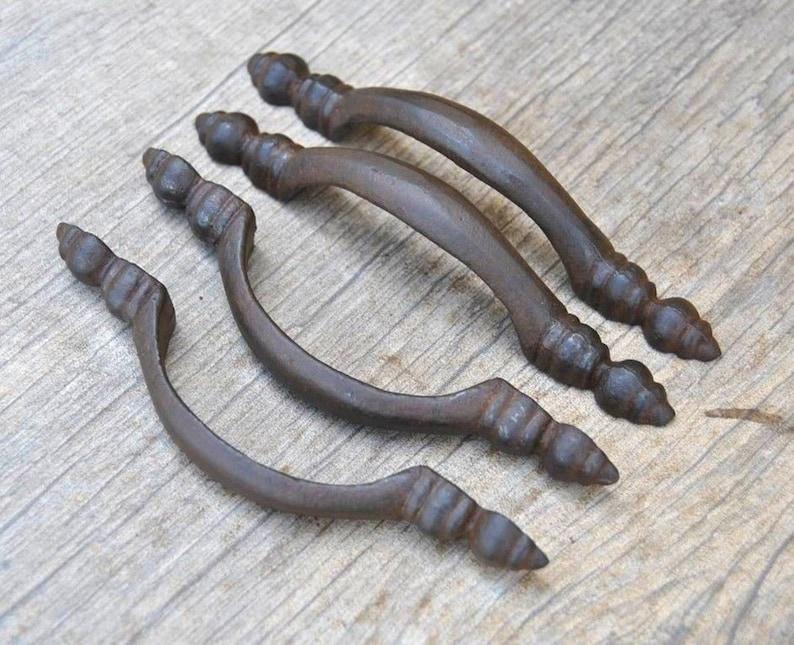 Barn Handle Door Handles 12 Cast Iron Antique Victorian Style ROUND Drawer Pull