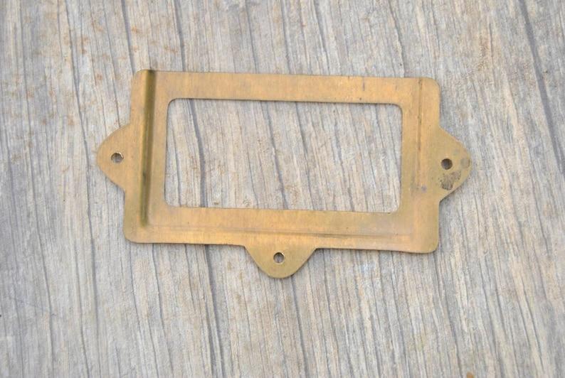 10pcs vintage reclaimed brass cabinet drawer label frame holders handles knobs pulls