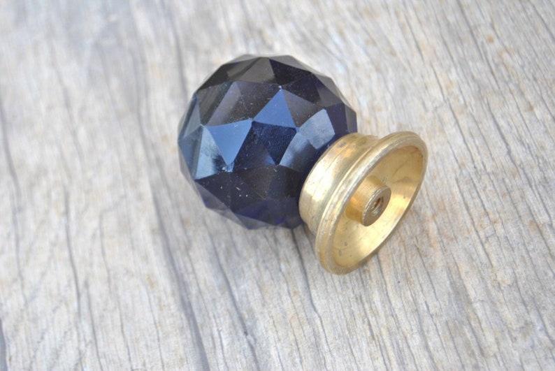 Vintage blue diamond cut prism glass entrance door cabinet knob handle pull 1.9