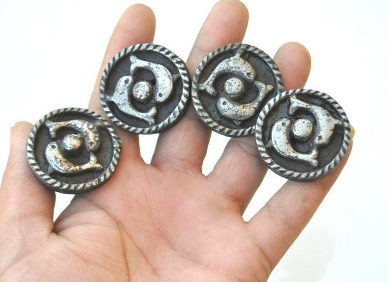 4pcs Vintage cast iron dancing dolphin pair face cabinet drawer cupboard knobs handles pull rustic 1.4 198grams