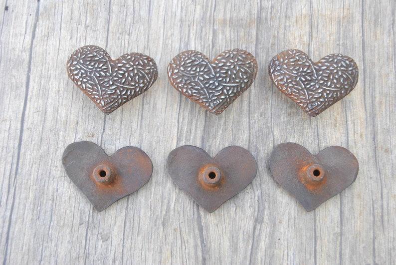 6pcs Vintage cast iron Heart shape cabinet drawer door knobs cupboard screen handles pull rustic 2.1 329 grams