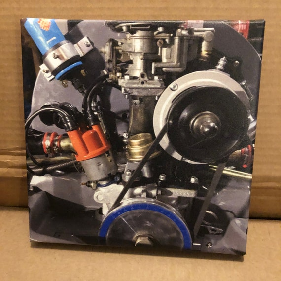 8x8 Print Vw 1600cc Dual Port Engine Volkswagen Bug Bus