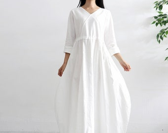f174da2bbd Women Soft Cotton Linen Dress Long Sleeves Tunics Casaul Loose Maxi Dresses  Long Robes Spring Fall Customized Plus Size Clothing