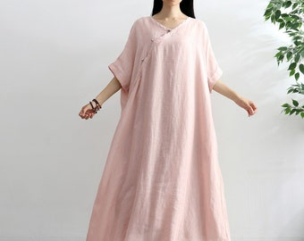 990d6fcce Women Short Sleeves Cotton Linen Dress Soft Long Robes Casual Loose Tunics Summer  Maxi Dresses Customized Oversized Dress Plus Size Clothing
