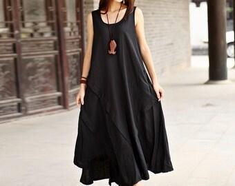 ac466f494b7cb Women Soft Long Cotton Linen Dress with Pockets Sundress Casaul Sleeveless  Loose Summer Maxi Dresses Customized Plus Size Clothing