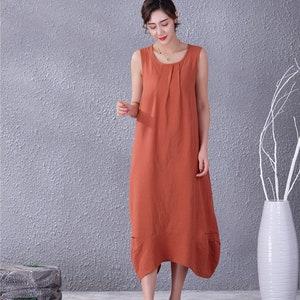New Design  Soft Long Cotton Dress Sundress Sleeveless Caftan Casual Loose Summer Midi Dresses Customized Plus Size Clothing Linen