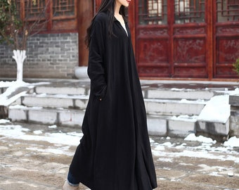 Natural Linen Coat Cardigan Long Sleeves Robes Loose Maxi Dresses Coat Oversized Windbreaker Autumn coat with Pockets Plus Size Duster