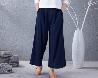 50e5e361d56 Women Soft loose Cotton Linen Pants Elastic Waist Large Size Trousers  Oversized Wide Leg Skirt Pant Customized Plus Size Pants