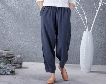 cea71f7645a74 Women Soft loose Cotton Linen Pants Elastic Waist Large Size Trousers  Oversized Wide Leg Skirt Pant Customized Plus Size Pants