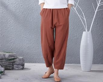 dbed01883fc Women Soft loose Cotton Linen Pants Elastic Waist Large Size Trousers  Oversized Wide Leg Skirt Pant Customized Plus Size Pants