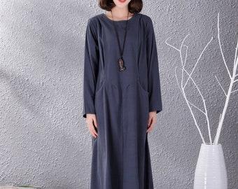 4fa92b76f10 New Design Long Sleeves Dress Women Cotton Linen Dresses Long Soft Caftan  Casual Loose Maxi Dress Spring Fall Customized Plus Size Clothing