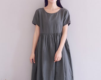 a527a35f2 Women Short Sleeves Cotton Linen Dress Soft Casaul Loose Tunics Summer  Robes Maxi Dresses Customized Oversized Dress Plus Size Clothing