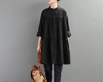 cb8d7e8dc5 New Design Women Spring Soft Cotton Linen Tops Long Sleeves Blouse Dress  Casaul Loose Kimono Shirt Tunics Customized Plus Size Clothing