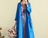 Women Long Soft Cotton Linen Cardigan Dress with Pockets Long Sleeves Jacket Casaul Loose Maxi Dresses Coat Customized Plus Size Clothing