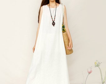 2ed05eb237 Women Soft Long Cotton Linen Dress with Pockets Sundress Casaul Sleeveless  Loose Summer Maxi Dresses Customized Plus Size Clothing