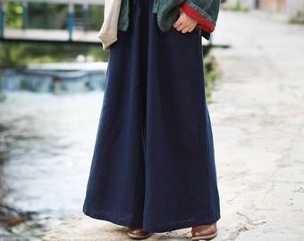 a6e955324d2 Women Soft loose Cotton Linen Pants Elastic Waist Large Size Trousers  Oversized Wide Leg Skirt Pant Customized Plus Size Pants