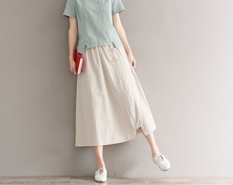 2e9ab3ce6 Summer Soft Cotton Skirt Elastic Waist Skirt Long Full Flared Midi Linen  Skirts Customized Plus Size Skirt
