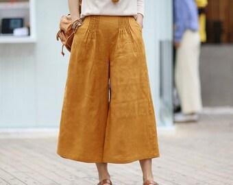 eaa92b9cab9 Women Soft loose Cotton Linen Pants Elastic Waist Large Size Trousers  Oversized Wide Leg Skirt Pant Customized Plus Size Pants