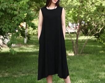 f972e96c9298 Women Soft Long Cotton Linen Dress with Pockets Sundress Casaul Sleeveless  Loose Summer Midi Dresses Customized Plus Size Clothing