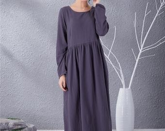 8a8e9a791b6 New Design Long Sleeves Dress Women Cotton Linen Dresses Long Tunics Caftan  Casual Loose Maxi Dress Spring Fall Customized Plus Size Clothes