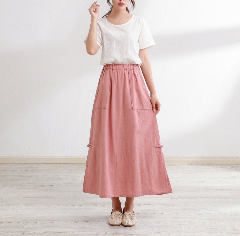 Victorian Skirts | Bustle, Walking, Edwardian Skirts New Design Summer Cotton Skirts A-line Pleated Elastic Waist Skirt Flared Midi Skirts Customized Plus Size Skirt Boho Linen $51.88 AT vintagedancer.com