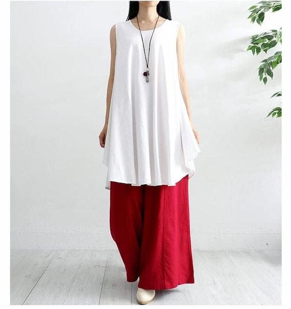 New Design Soft Cotton Tops Sleevesless Blouse Dress Casaul Loose Kimono Sundress Summer Tunics Customized Plus Size Clothing