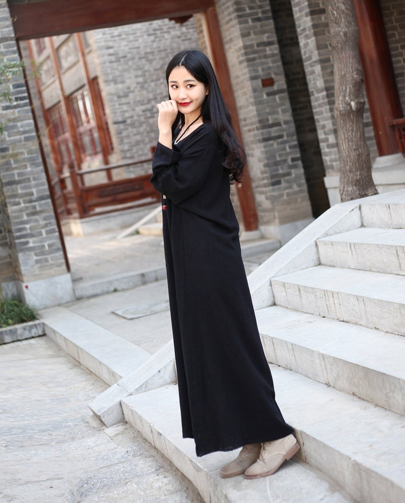 Long Soft Cotton Dress with Pockets Long Sleeves Casaul Loose Maxi Dresses for Spring Fall Customized Plus Size Clothing Linen